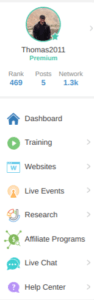 dashboard menu wealthy affiliate