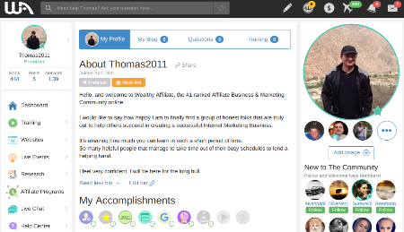 Thomas2011 profile wealthy affiliate